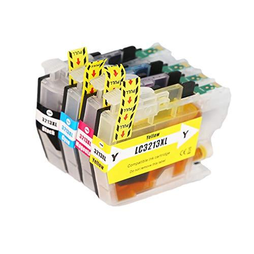 4 cartuchos de tinta LC 3213 XL compatibles con Brother LC-3213 LC-3211 LC3211 DCP-J572DW MFC-J497DW MFC-J491DW DCP-J772DW DCP-J774DW MFC-J890DW MFC-J895DW (1B/1C/1M/1Y, 4 unidades)
