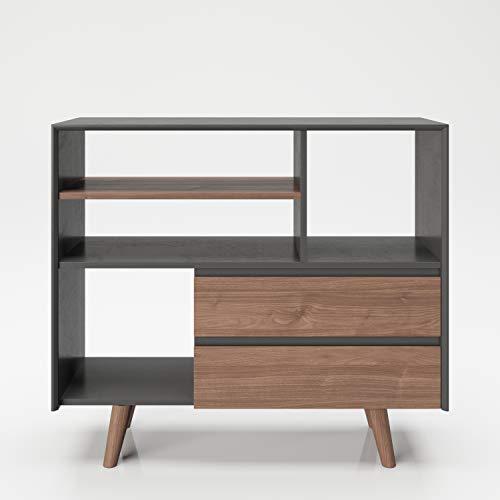 PLAYBOY Regal mit 4 Fächern und 2 Schubladen, sanft-schliessend, grau Nussbaumdekor, Raumteiler mit Stauraum im Retro-Design für Wohn-und Essbereich, Speisezimmer, Diele, Flur und Schlafzimmer