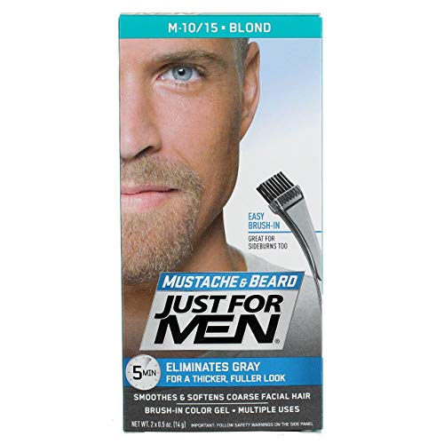 JUST FOR MEN Mustache & Beard Brush-In Color Gel, Blond M-10/15 1 Each (Pack of 4)