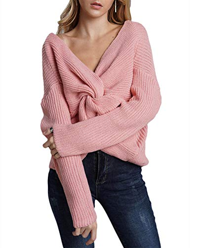 Sexyshine Women's V Neck Criss Cross Backless Long Batwing Sleeve Loose Knitted Sweater Pullovers,Pink
