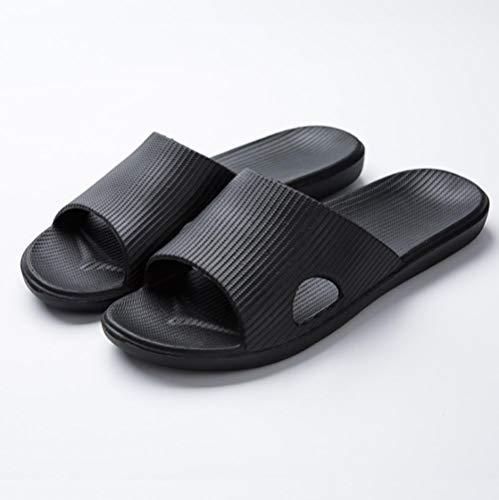 KIKIGO Chanclas | Sandalias de playa casuales | Zapatos de ducha, sandalias y zapatillas antideslizantes de verano, zapatos de baño para hombre de suela suave, color negro_45