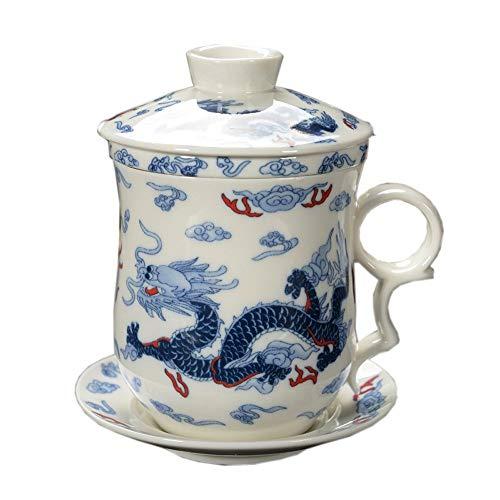 ufengke Jing Dezhen Taza De Té De Porcelana Azul Y Blanca, Conjunto De 4 Piezas Patrón De Dragón Azul, Taza De Té China con Filtro, para Regalo, La Familia Y La Oficina - Azul 300 Ml