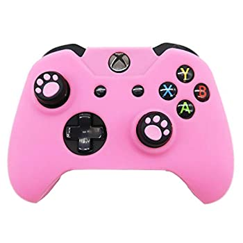 BRHE Cute Skin Cover for Xbox One / Series X/S Controller Anti-Slip Silicone Grip Protective Case Accessories Set Wireless/Wired Gamepad Joystick with 2 Cat Paw Thumb Grips Caps  XB One Pink
