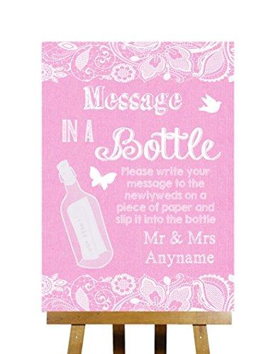 Roze jute & Kant Collectie Bericht In Een Fles Gepersonaliseerde Bedrukte Kaart Bruiloft Teken Large A3 roze