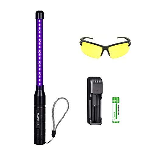 MAINENG la luz uv negro para la orina del animal doméstico manchas, maineng led blacklight linternas incluyendo gafas, la batería recargable