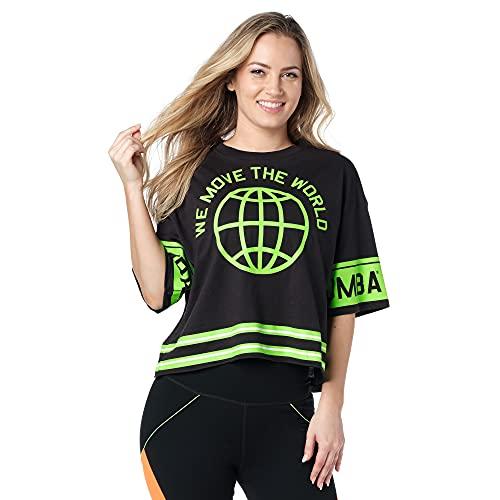 Zumba Fitness Léger Crop Top T Shirt Activewear Dance...