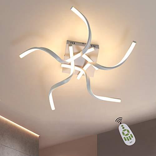 ZMH Deckenleuchte LED Deckenlampe Wohnzimmer Weiß Dimmbar 48W 65CM Wellenförmig Modern Design Schlafzimmerlampe Wohnzimmerlampe Küchenlampe Bürolampe Flurlampe mit Fernbedienung Deckenbeleuchtung