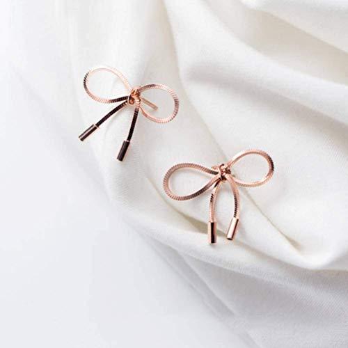 S925 zilveren oorbellen Women'S Han Xiaoqing nieuwe strik Sweet Girl hart korte oorbellen oor sieraden, goud & roos, 925 zilver, EEH A Rosegoud
