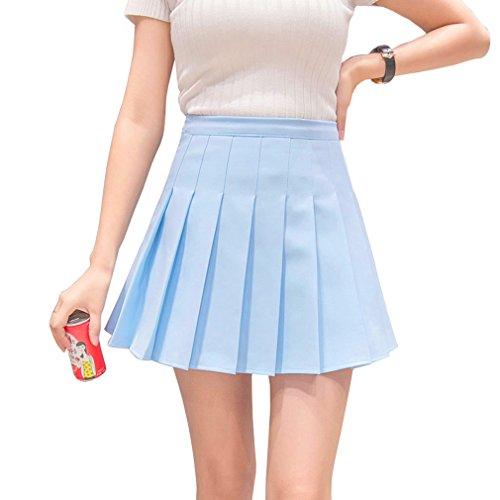 Hoerev Women Girls Short High Waist Pleated Skater Tennis School Skirt Blue
