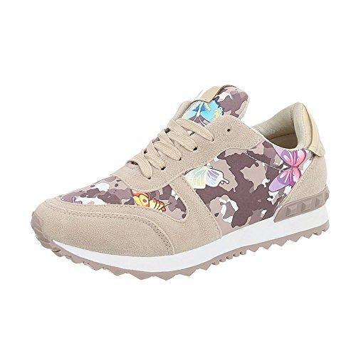 Ital-Design Sneakers Low Damen-Schuhe Sneakers Low Sneakers Schnürsenkel Freizeitschuhe Beige Multi, Gr 37, G-99-