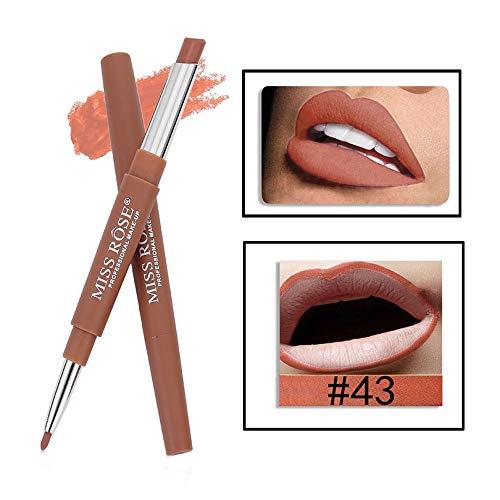 Tonsee MISS ROSE Sexy Métallique Lip Gloss Fashion Rouge à lèvres Double-end Lasting Lipliner Waterproof Lip Liner Stick Pencil 20 Color (43#)