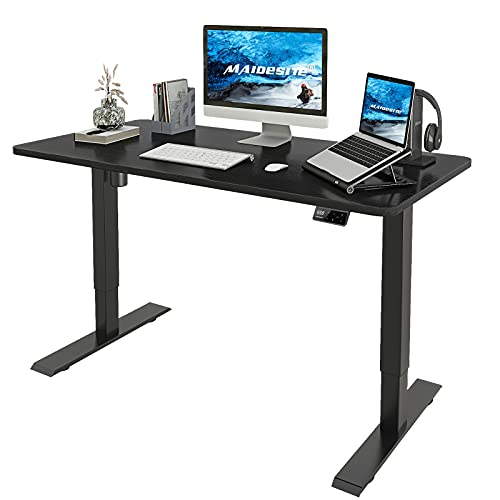 MAIDeSITe Adjustable Height Electric Standing Desk, Ergonomic Stand Up Desk for Home Office, Sit Stand Desk with 48 x 24 Inch Whole Piece Board, Quick Assembly Adjustable Table, Black Frame/Black Top