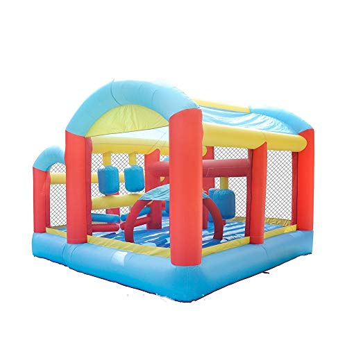 EXCLVEA Inflatable Bouncy Castle Large Inflatable Castle Trampoline Slide Children's Play Facilities Outdoor Entertainment Castle for Courtyard Playground (Color : Orange, Size : 405x390x290cm)