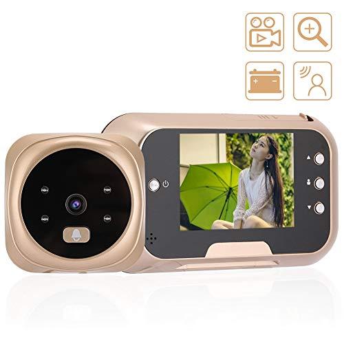 Video deurbel, 3.0 inch draadloze visuele kijkgaatje kijker elektronische nachtzicht 3xZoom Camera Entry System Kit voor thuis appartement (EU goud)