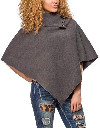 jowiha® dames poncho met opstaande kraag en knopen in zwart beige antraciet rood blauw bordeaux eenheidsmaat S/M/L