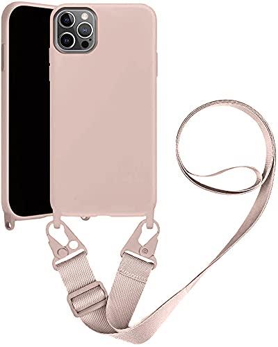 Handykette Handyhülle kompatibel mit Apple iPhone 11 Necklace Hülle Nylon Schultergurt Weich Silikon TPU Cover mit Kordel zum Umhängen Schutzhülle mit Stylische Band (Pulver)