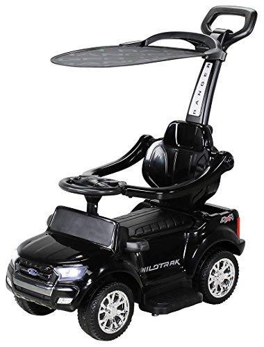Actionbikes Motors Kinder Rutschauto Ford Ranger - Lizenziert - 3 in 1 - Schubstange - Sonnendach - Schiebestange - Rutscher - Laufrad - Lauflernwagen - Spielzeug - ab 1 Jahr Kinderauto (Schwarz)
