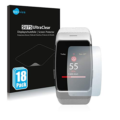 Savvies 18x Schutzfolie kompatibel mit MyKronoz ZeWatch 4 Bildschirmschutz-Folie Ultra-transparent