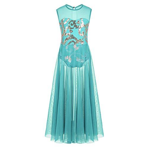 inhzoy Big Girl Kids Lyrical Sequin Ballet Leotard Dress Gymnastics Ballroom Dance Long Maxi Skirt Turquoise 10-12