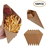 Leepro 100 pcs Food Cones with Dip Pocket, Disposable Kraft Paper French Fries Cones with Dipping...