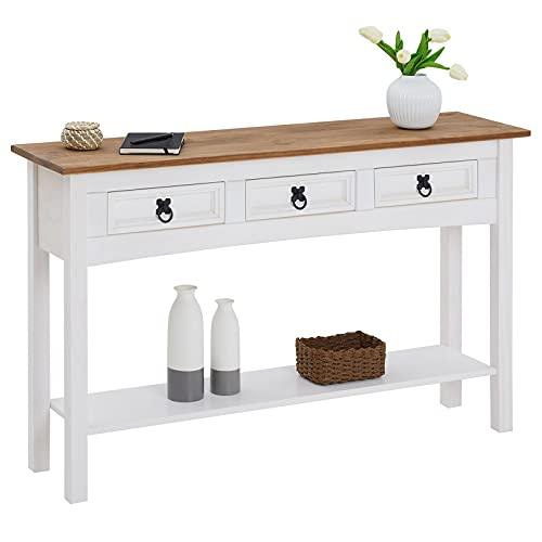 CARO-Möbel Konsolentisch Campo aus massiver Kiefer 3 Schubladen I Kleiner Beistell Schreibtisch im Landhaus Mexiko Stil I weiß lasiert gebeizte und gewachste Oberfläche
