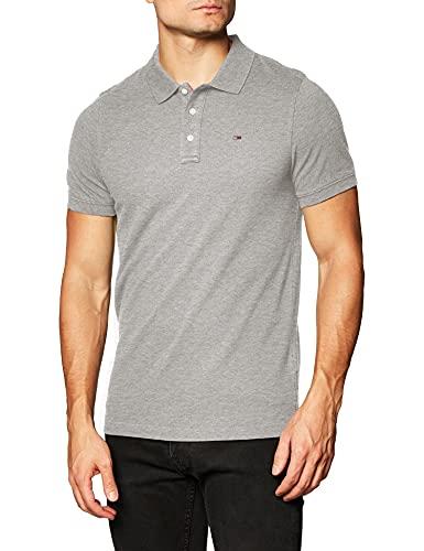 Tommy Jeans Piqué P, Camiseta Polo con Cierre de 3 Botones Hombre, Gris (Lt Grey Htr), M