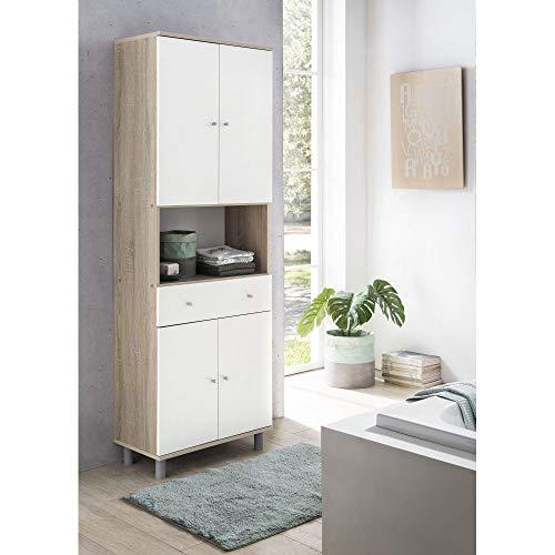 roomindo Hochschrank Badschrank 4 Türen 1 Schublade 60cm breit Eiche Sonoma/Weiss NEU/OVP