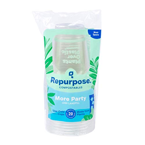 Repurpose 100% Compostable Plant-Based Clear Cold Cup, 12 Ounce (50 Count)