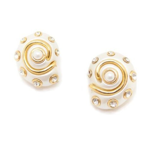 White Snail Shell Clip On Earrings Costume Fashion Designer Jewelry by Kenneth Jay Lane