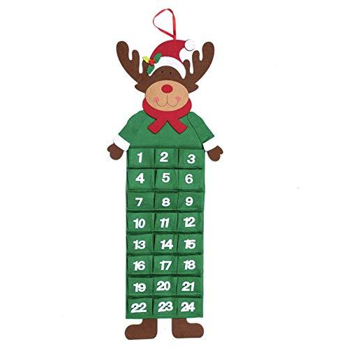 Mooyii Calendario de Adviento de Fieltro Grande con Bolsillos (Papá, Reno o muñeco de Nieve)