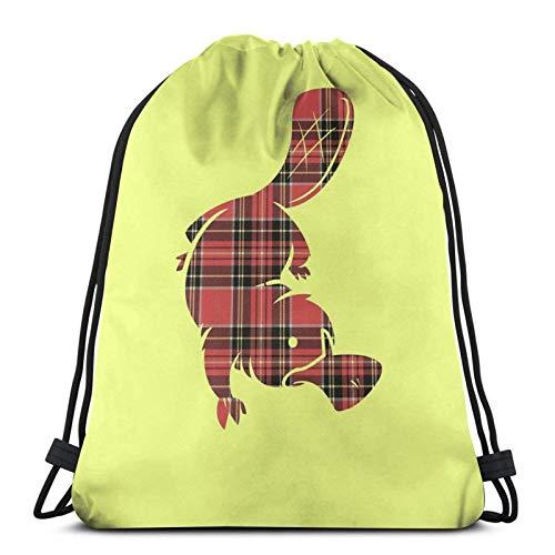 XCNGG Bolsa de Gimnasia Bolsa con cordón Bolsa de Viaje Bolsa de Deporte Mochila Escolar MochilaDrawstring Bag Plaidypus Floor Pillow Training Gymsack