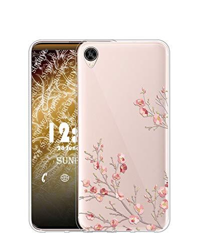 Sunrive Kompatibel mit Oppo R9 Plus Hülle Silikon, Transparent Handyhülle Schutzhülle Etui Hülle (TPU Blume)+Gratis Universal Eingabestift MEHRWEG