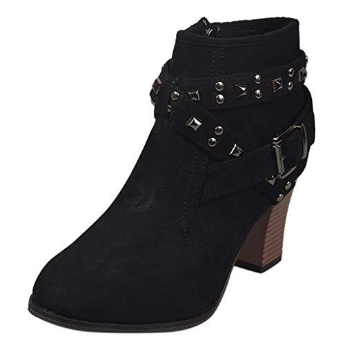 Stiefel Damen Blockabsatz Reißverschluss Stiefeletten mit Nieten Gürtelschnalle Runder Zeh Suede Kurzschaft Kurze Stiefel Schuhe Damenschuhe (36 EU, Schwarz)