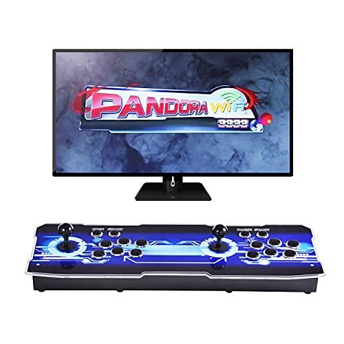 OneV FT [3333 Spiele in 1 Upgrade der Arcade-Spielekonsole WiFi-Funktion Full HD Retro-Video Arcade-Spielekonsole 2 Spieler 3D Pandora's Box mit 3333 Retro-Spielen für PC / Laptop / TV / PS3