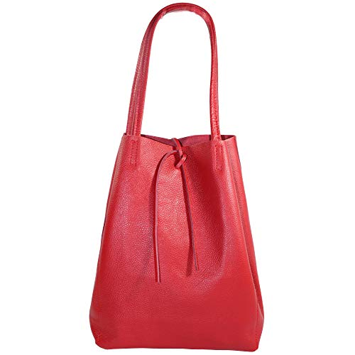 LORD OF LABEL - Borsa shopper in pelle con tasca interna, 26 x 35 x 13 cm, Rosso (Rot), Taglia unica