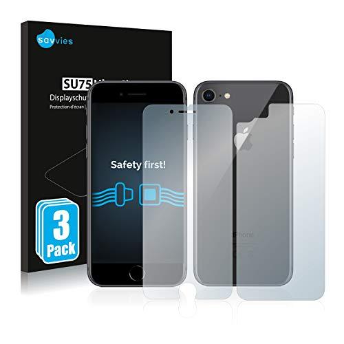 savvies 6-Pezzi Pellicola Protettiva Compatibile con Apple iPhone 8 (Anteriore + Posteriore) Protezione Schermo Trasparente