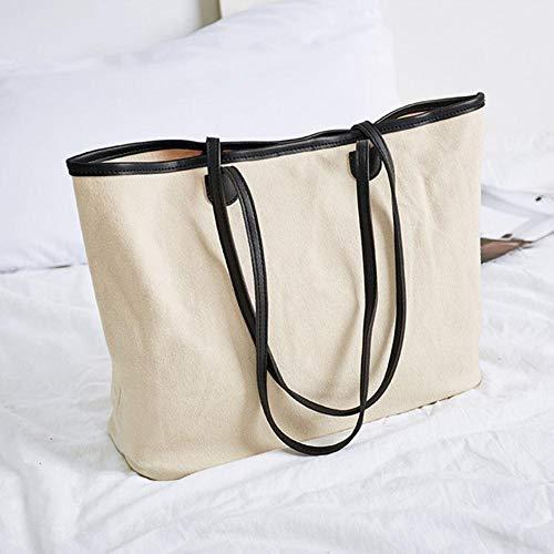 ARR schoudertas grote capaciteit grote Tote katoen stof handtas PU leer & canvas patchwork ontwerp portemonnee voor dames