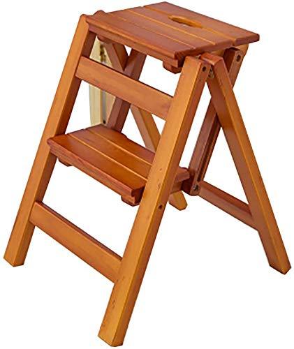 GDFEH Escalera plegable de madera de 2 pasos, escalera de dirección portátil, versátil para el hogar, cocina, baño, muebles de oficina (color: nogal claro)