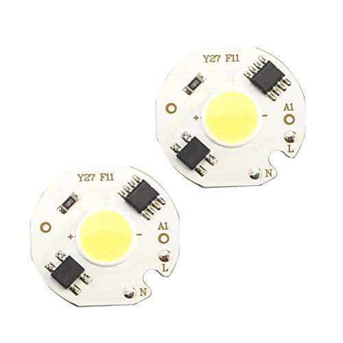 Semiter Fuente de luz de Chip, 10 Piezas de Foco COB, para Uso doméstico, iluminación DIY, lámpara de Techo, luz de inundación LED(White Light 5W)