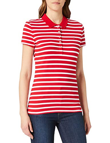 Tommy Hilfiger Short Sleeve Slim Polo Stripe Camiseta sin Mangas para bebés y niños pequeños, Classic Breton STP/Primario Rojo, XL para Mujer