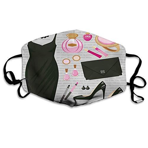 Schwarzes Smart Cocktailkleid Parfüm Make-up Clutch Bag Stilvoller Mundschutz für Skifahren Camping,18x11cm