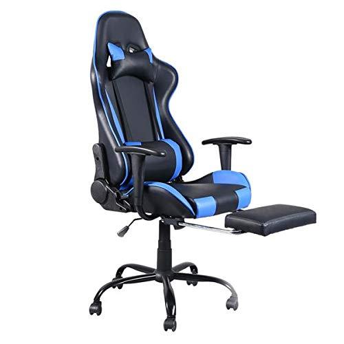 Gaming Stuhl Schreibtischstuhl Ergonomischer Bürostuhl Gaming Stuhl, Racing Gamer Stuhl Bürostuhl Stoff, Ergonomischer Computerstuhl mit Fußstütze, Drehstuhl mit Ho PU-Leder Verstellbarer Arbeitsstuhl