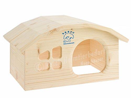 Resch Nr04 Wichtelhaus Meerschweinchen naturbelassenes Massivholz aus Fichte/mit Fenster, rundem Dach und großem Eingang