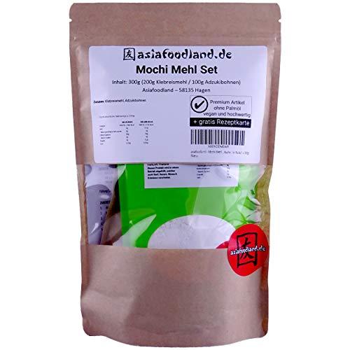 asiafoodland - Mochi Mehl Set - Mochis einfach selber machen - inkl. Adzukibohnen und gratis Rezeptkarte, 1er Pack (1 x 300g)