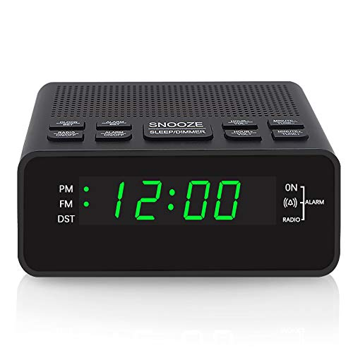 "Alarm Clock Radio, Digital Alarm Clock, Clock Radios with AM/FM, Sleep Timer, Dimmer, Snooze, 0.6"" Digital LED Display and Battery Backup Function for Bedroom, Office, Table and Desk (Green Digit)"