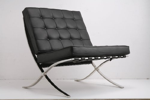 Ludwig Mies ven der Rohe Barcelona Pavilion sedia nero vera pelle italiana