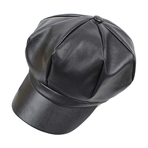 Wicemoon Gorras de Invierno para Mujer Sombrero de Cuero PU Gorra Octogonal Sombreros Casuales Negro