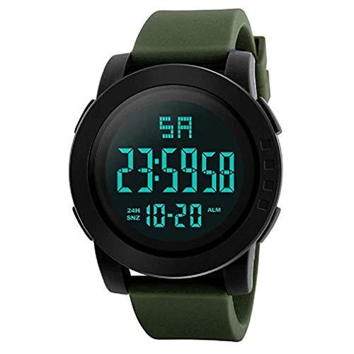 ¡Promoción!Mens Digital Relojes Deportivos Cara Grande Pantalla LED Impermeable Relojes Militares Casual Impermeable Luminoso Simple Ejército Reloj Cronómetro Alarma (Verde)