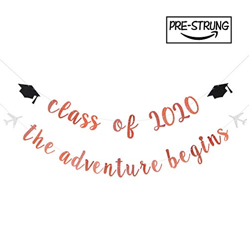 Glitter Class of 2020 & The Adventure Begins Banner – High School/College Graduate Felicidades Colgantes Decoración Felicidades Grad Graduation Party Suministros