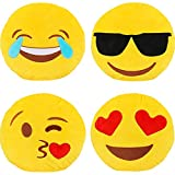 Dreampark Emotion Pillow Set, 4 Pack Smiley Pillow Emoticon Cushion Stuffed Plush Round Yellow Soft Pillow Valentines Gifts (13 inches)